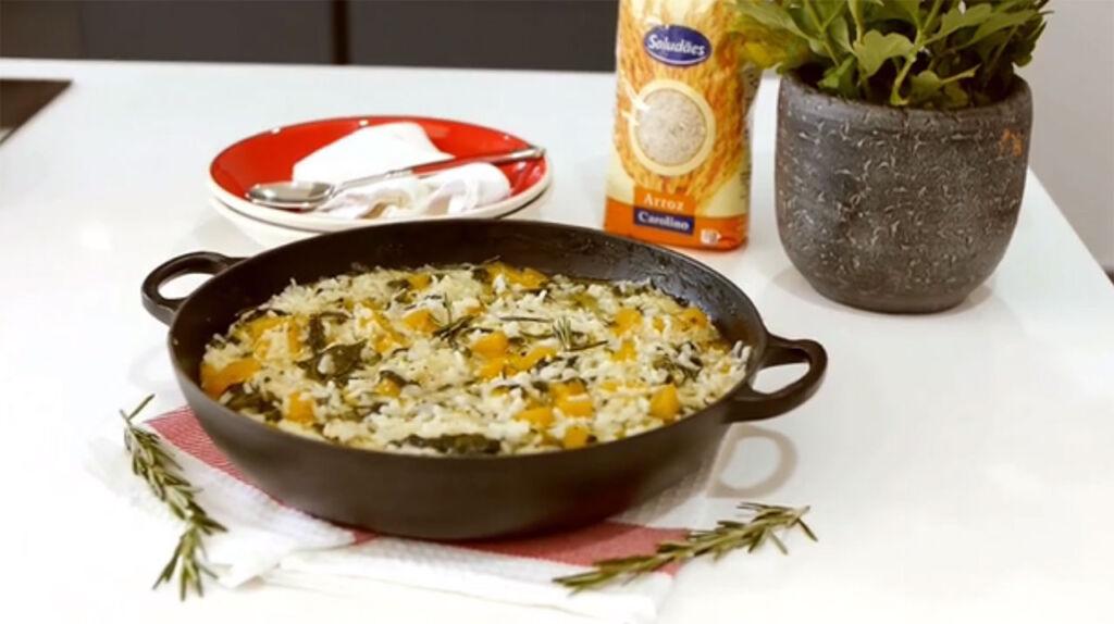 Imagem da receita de arroz cremoso no forno, preparado com Arroz Saludães Carolino